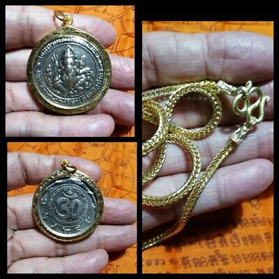 Silver Coin Lord Ganesha in Gold Case & Gold Necklace Thai Amulet Pendant G7-2