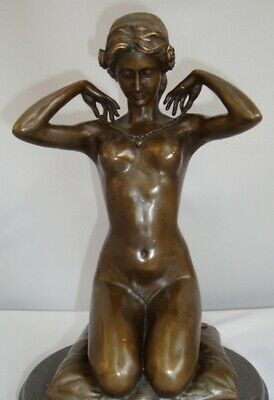 Statue Sculpture Damsel Naked Sexy Art Deco Style Art Nouveau Style Solid bronze