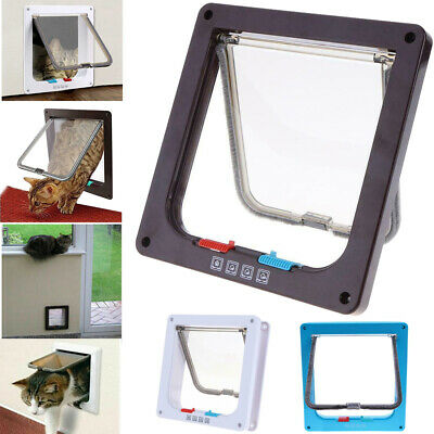 4 Way Lockable Dog Cat Security Flap Door Kitten Puppy Pets Plastic Gate Door 1A
