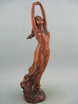 Antique Old Boxwood Hand Carved Sexy Beauty Collectible Netsuke Statue