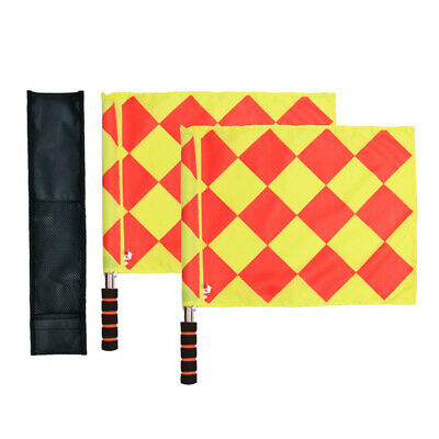 2* Soccer Referee Flags Linesman Flag Padded Grips Red//Yellow Quartered Flag F3