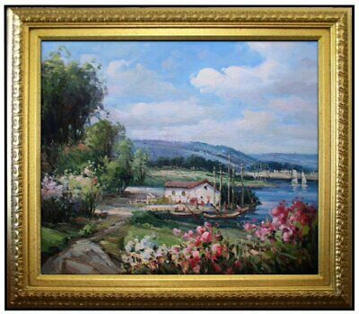 Framed Quality Hand Painted Oil Painting, Lakeside Cottage. 20x24in