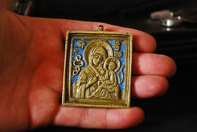 "Russian orthodox icon Bronze, 19th century icon أيقونة Ancient Bronze ""mother"