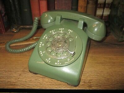 Rotary Dial Desk Telephone Avocado Green Itt Bell  Retro Western Electric Pastel