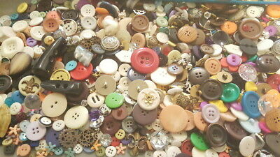 Unsearched Lot of 100 MIXED VINTAGE & NEW BUTTONS Rhinestone Metal Plastic etc