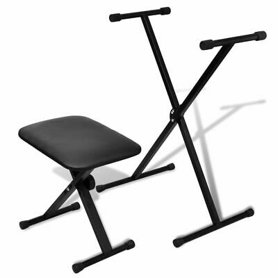 vidaXL Adjustable Keyboard Stand and Stool Set Musical Instrument Seat Bench#
