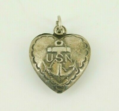 Vintage / Antique Sterling Silver US Navy Puffy Heart Charm