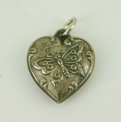 Vintage / Antique Sterling Silver Butterfly Puffy Heart Charm