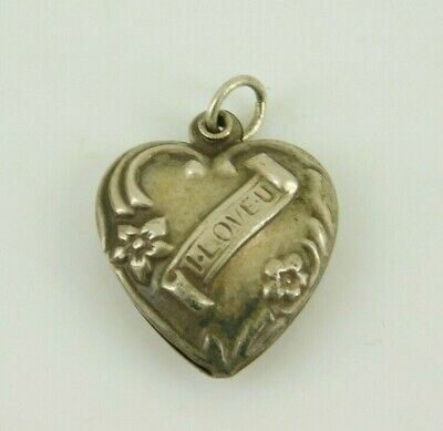 Vintage / Antique Sterling Silver I Lover You Puffy Heart Charm