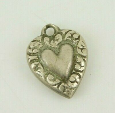 Vintage / Antique Sterling Silver Puffy Heart Charm
