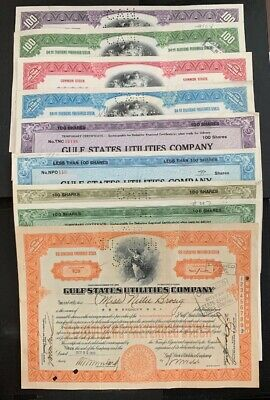 US GULF STATES UTILITIES COMPANY COMMON STOCK CERTIFICATE 1928+ Set 9 B9/12 G.Co