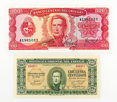 Set of 2 different Uruguay 100 Pesos and 50 centavos Au-Unc.