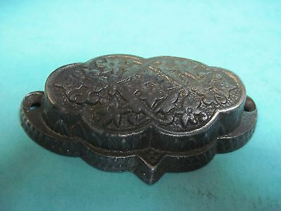 ANTIQUE DRAWER PULL ORIGINAL 1800's CAST IRON EASTLAKE metal BIN HARDWARE