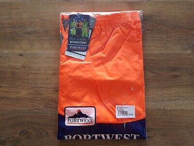 Portwest Hi-Vis Orange Rain Trousers - H441 - Small - New With Tags