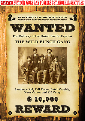 Old West Wanted Posters Outlaw Cassidy Sundance Train Bank Western Reward
