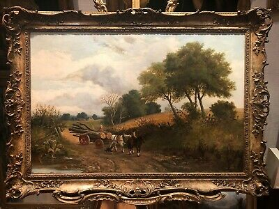 OLD MASTER HUGE English / Americana history 19th Century OIL PAINTING GOLD FRAME