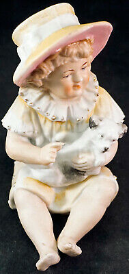 Antique Piano Baby Gebruder Heubach Little Girl in Hat with Dog BISQUE FIGURINE