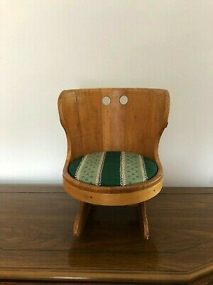 Antique Vintage Doll Child's Half Barrel Wood Rocker Rocking Chair