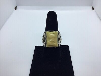 Vintage Sterling Silver 10k Gold Carved Roman Soldier Cameo Ship Ring Antique