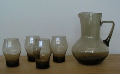 As New - Vintage Hand blown Glass Pitcher Jug & 4 Glasses - Grey