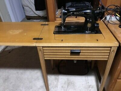 Vintage Singer Sewing Machine Model 15 with Cabinet Made In 1951