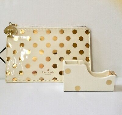 Authentic New Kate Spade New York Gold Dots Pencil Pouch Set