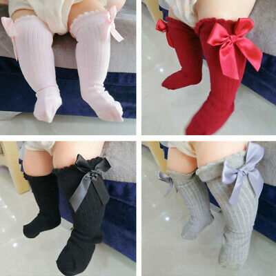 New Kids Toddlers Girls Bow Knee High Winter Socks Long Cotton Lace Baby Socks