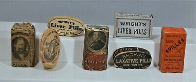 Lot of Four (4) Very Early Wooden Quack Medicine Pill Ovals, Great Grouping!