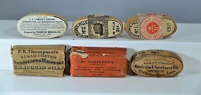 Lot of Five (5) Different Early Quack Medicine Oval Wood Boxes