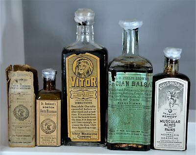 Lot of Four (4) Early Labeled Quack Medicine Bottles, All w/ Contents!