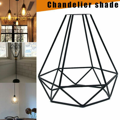 Retro Edison Dome Cage Metal Wire Hanging Lamp Shade Pendant Light Chandelier V5