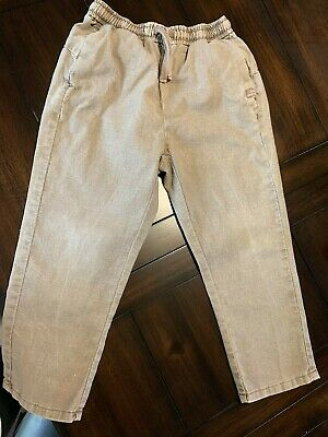 7f4aa07c ZARA LITTLE BOYS Washed out Olive Green Colored Linen Pants Drawstring  Pants 6