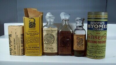 Lot of Four Quack Medicine Bottles. Tex Worthe Pioneer Oil, Booth's Hyomei