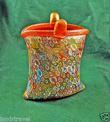 New Gambaro & Poggi Sticker Murano Millefiori Vase Italian Art Glass Gorgeous