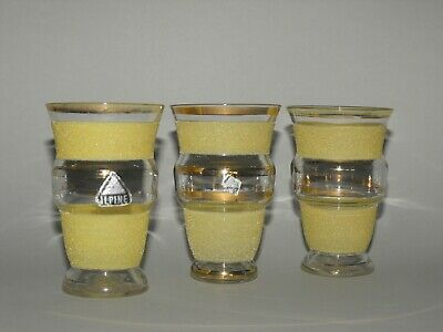 Lot of 3 ReTRo Gold & Yellow Frosted Bands Drinking Glasses Vintage Barware 9 cm