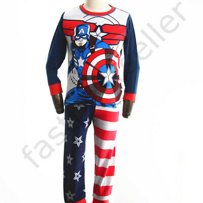 1-6 Captain America  Boys Toddler Kids Cotton Pyjamas Sleepwear Snug Costume Set