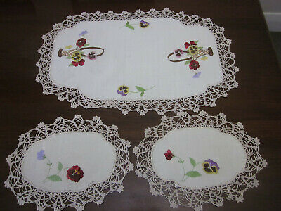 Beautiful Hand Embroidered Pansies In Baskets 3 Pce  Duchess Set