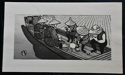 Original Japanese Woodblock Print Okuyama, Gihachiro ,lunch Break Rice Harvest