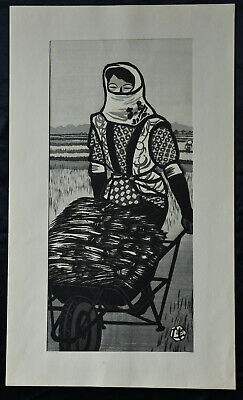 Large Original Japanese Woodblock Print Okuyama, Gihachiro , Rice Harvest