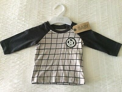 Cotton On Baby Boys Leo Raglan Long Sleeved Top - Size 0000 Newborn - New w/Tags