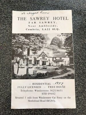 The Sawrey Hotel Brochure Pamphlet Ambleside Cumbria