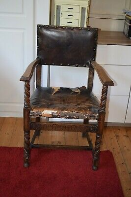 Vintage antique leather and oak gothic dining chair