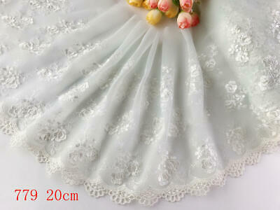 "8""*1yard Delicate Embroidered flower Light Green tulle Lace Trim DIY  sewing 779"