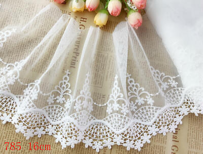 "6""*1yard Delicate Off white Embroidered flower tulle Lace Trim  Craft sewing 785"