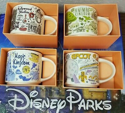 4 Park set New Disney Parks Starbucks Been There Series 2019 FULL Size Mugs WDW