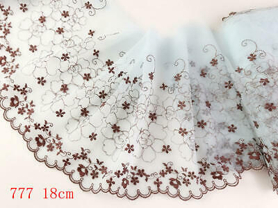 """7""""*1yard Delicate Embroidered flower Blue tulle Lace Trim DIY Craft sewing 777"""