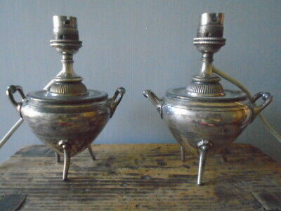 Pair Small Antique JAMES DIXON & SONS EPBM Silver Plated Converted Table Lamps