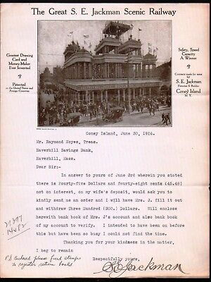 1916 Coney Island Roller Coaster - Great S E Jackman Scenic Railway Letter Head
