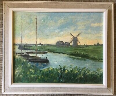 Vintage Oil Painting Windmills And Canals And Bots Signed M Favlkes Framed Board