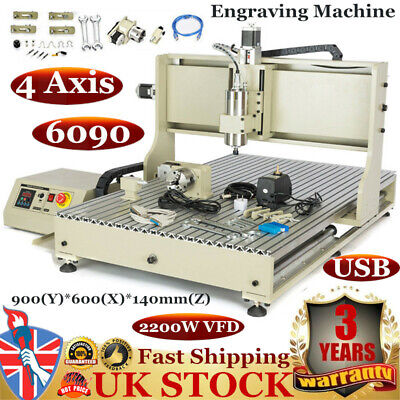 4 Axis USB 6090 CNC Router Metal Engraver Engraving Milling Ball Screw 2200W VFD